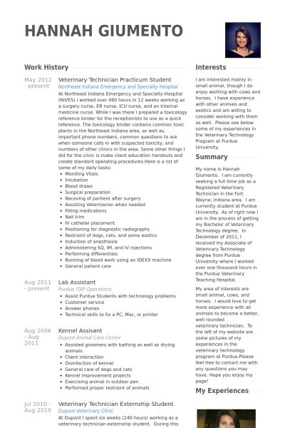 Practicum Student Resume samples - VisualCV resume samples database