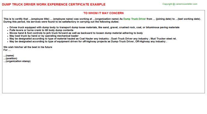 Dump Truck Driver Work Experience Certificate