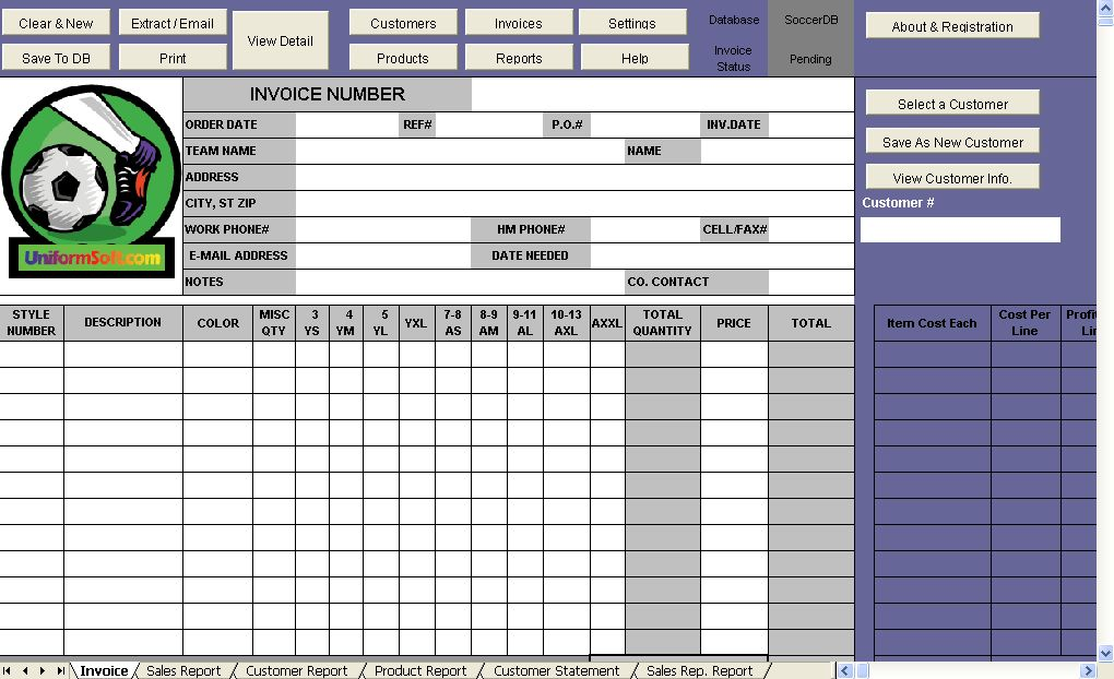 Soccer Shop Invoice Template - Uniform Invoice Software