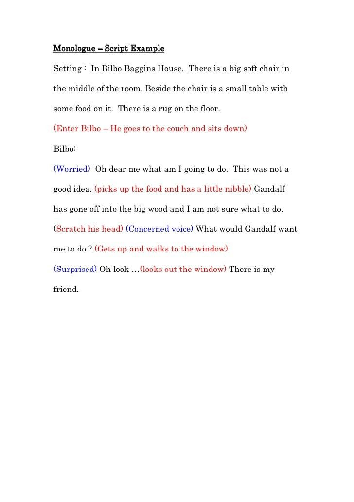 Monologue – script example