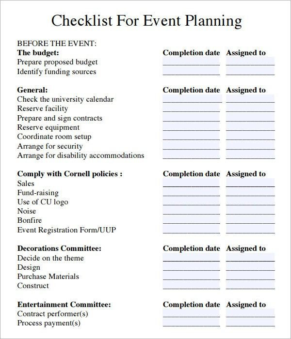 Event Planning Checklist - 6+ Download Free Documents in PDF