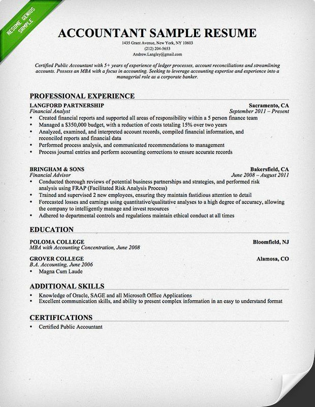 Capricious Accounting Resume Template 8 Accountant Sample And Tips .
