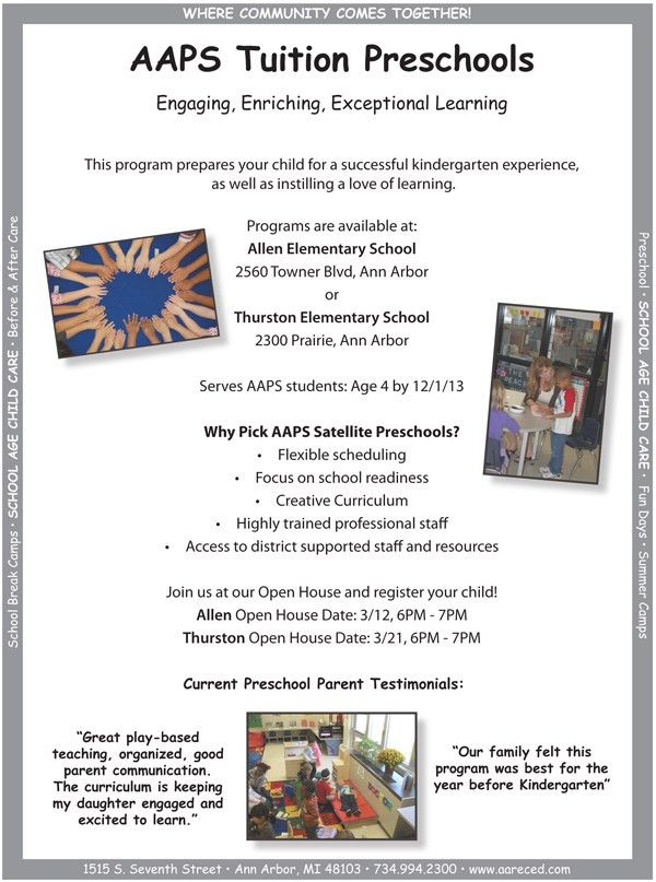 AAPS Tuition Preschool Open Houses coming up in March |