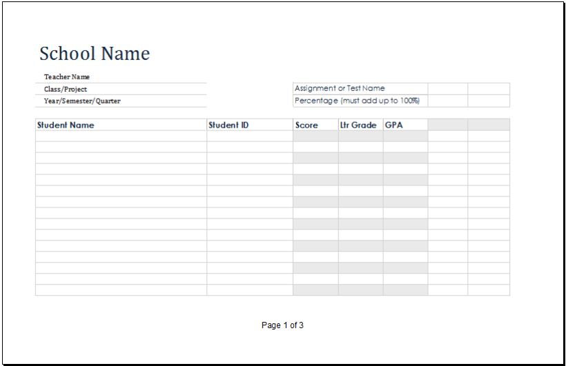 MS Excel Printable Student Grade Book Template | Excel Templates