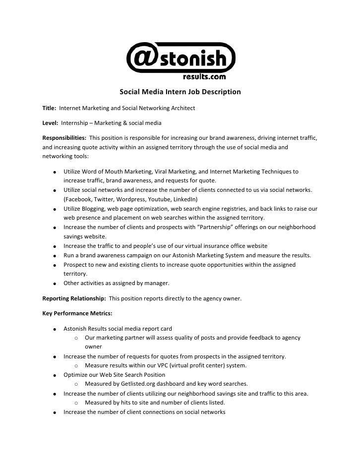 Internship Job Description