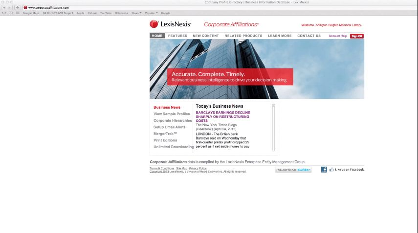 Find Company Contact Information - LexisNexis Corporate Affiliations