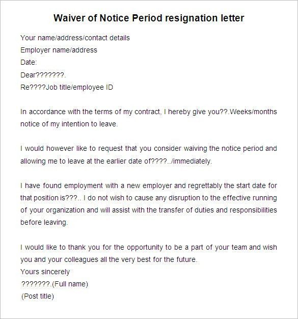 Resignation Letter : Sample Of Resignation Letter Without Notice ...