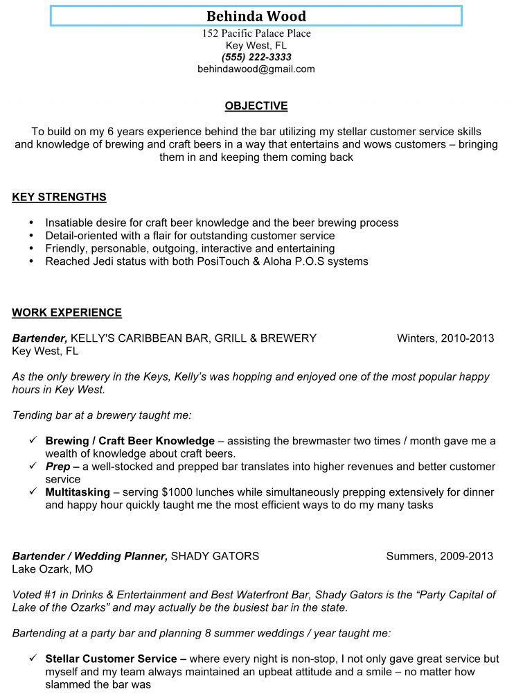 Awe-Inspiring Bartender Resume Sample 2 Awesome Sample Bartender ...