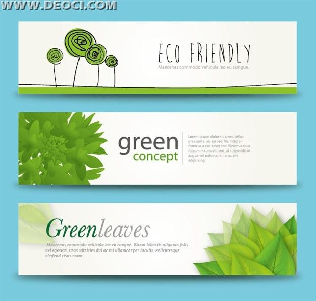 3 Free green leaves banner advertising background illustration ...