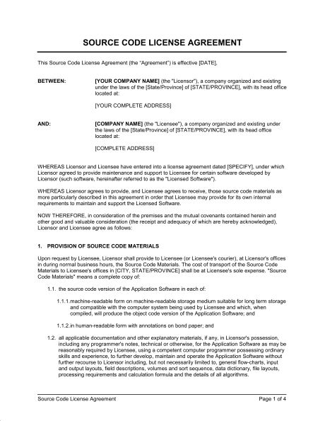 Source Code License Agreement Short Form - Template & Sample Form ...
