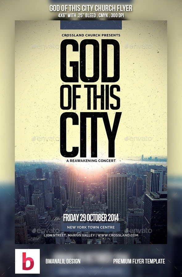 God of This City Church Flyer | Flyer template, Flyer design ...