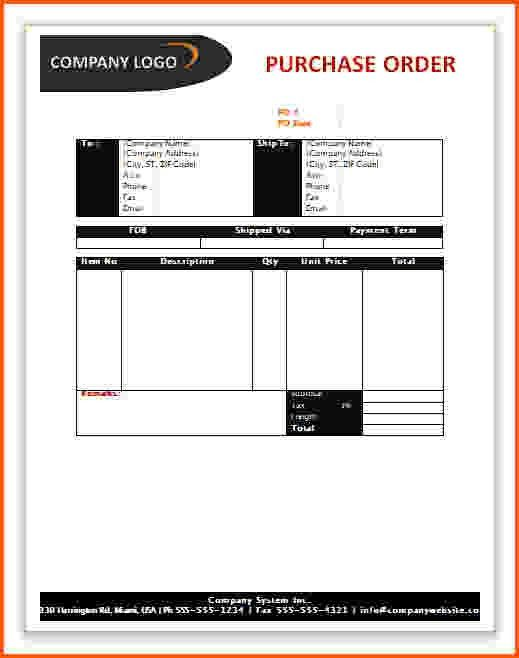 7+ purchase order template word | Survey Template Words