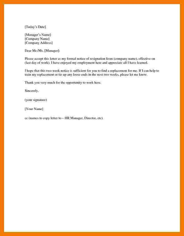 10+ example of letter of resignation two weeks notice | mailroom clerk