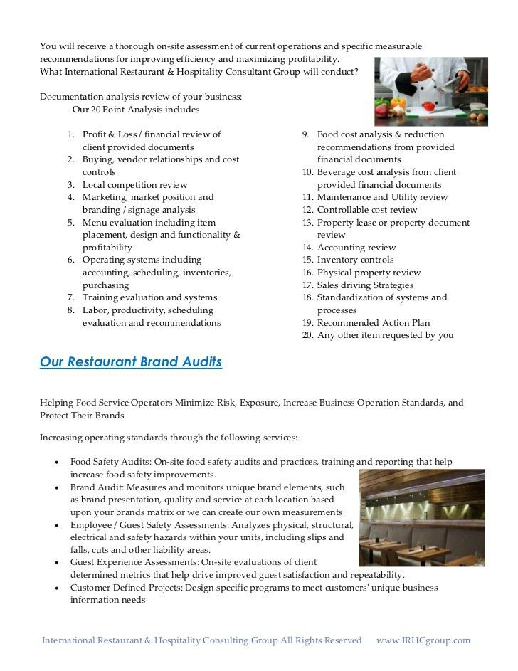 Restaurant Operations Audits and Assessments