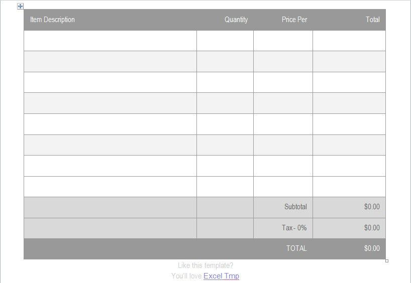 Sample of Invoice Template For Microsoft Word - Excel Tmp