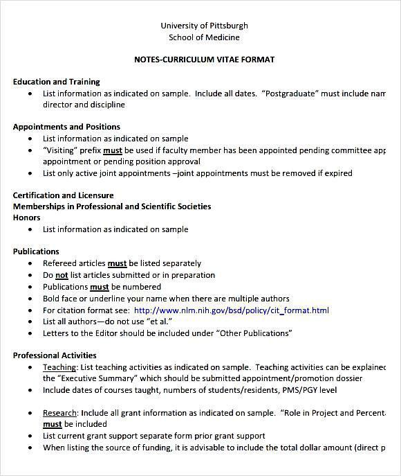 Medical CV Template Printable - Free Samples , Examples & Format ...