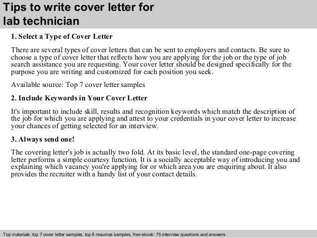 Lab technician cover letter