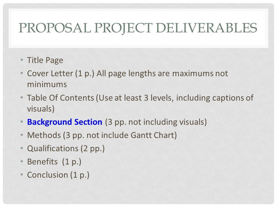 MAJOR SECTIONS PROPOSAL WRITING. PROPOSAL PROJECT DELIVERABLES ...