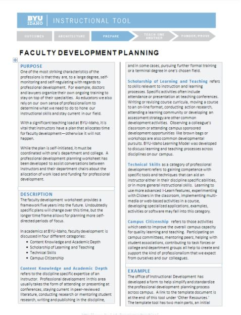 Faculty Development Planning Tool & Template Available