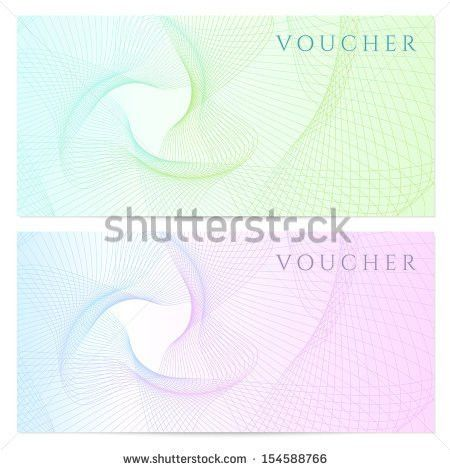 Voucher Gift Certificate Template Colorful Guilloche Stock ...