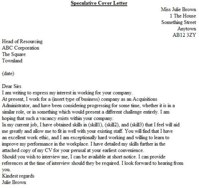 Speculative Cover Letters