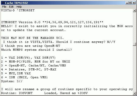 Installing FOIA Vista on Caché for Windows
