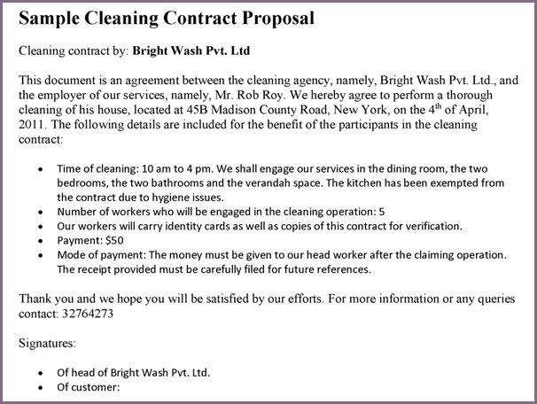 SAMPLE CLEANING PROPOSAL LETTER | proposalsampleletter.com