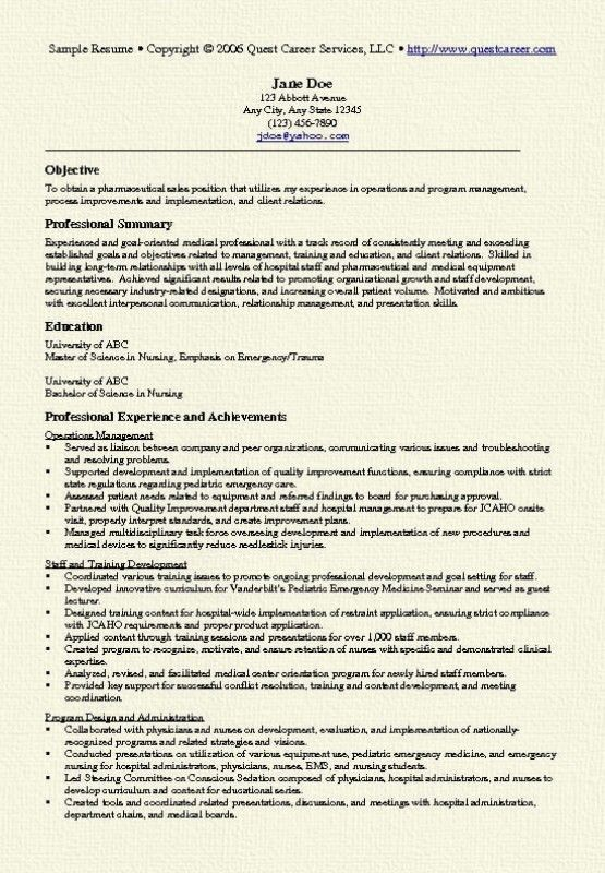Pharmaceutical Sales Rep Resume – Resume Examples