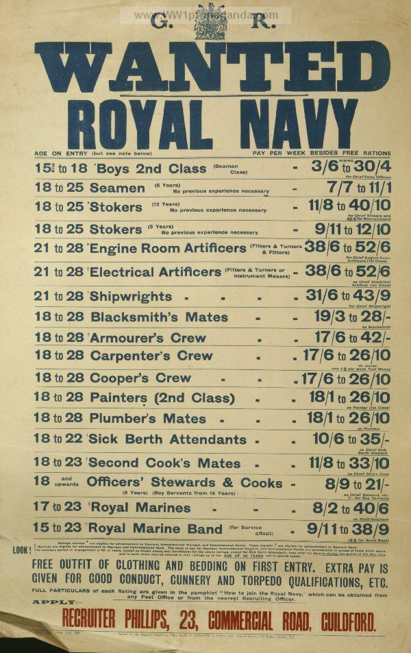 Examples of Propaganda from WW1 | Wanted - Royal Navy.