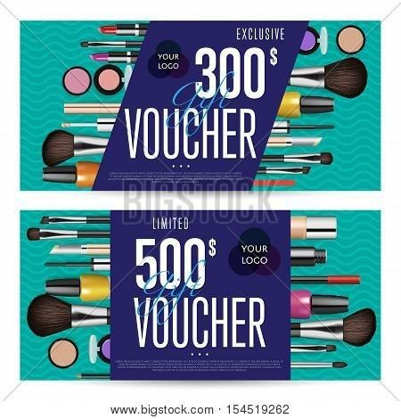 Cosmetic voucher template vector. Gift voucher layout or discount ...