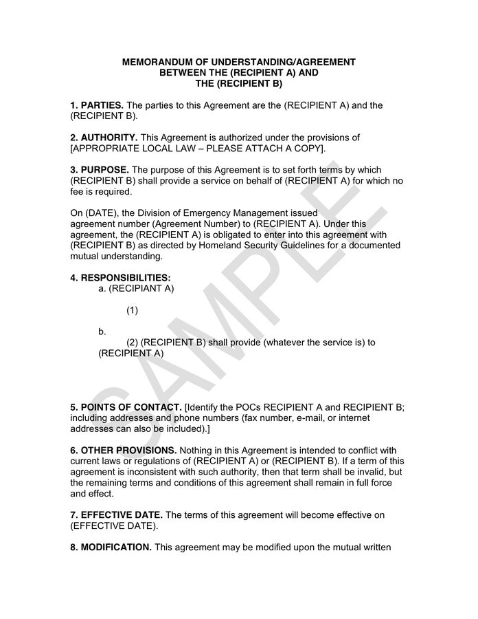 MEMORANDUM OF UNDERSTANDING/AGREEMENT in Word and Pdf formats