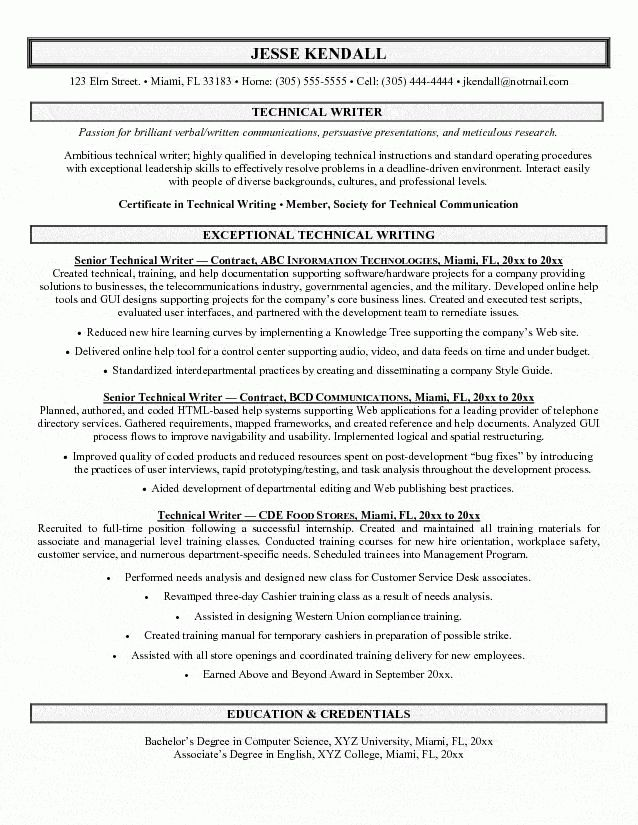 author resume sample