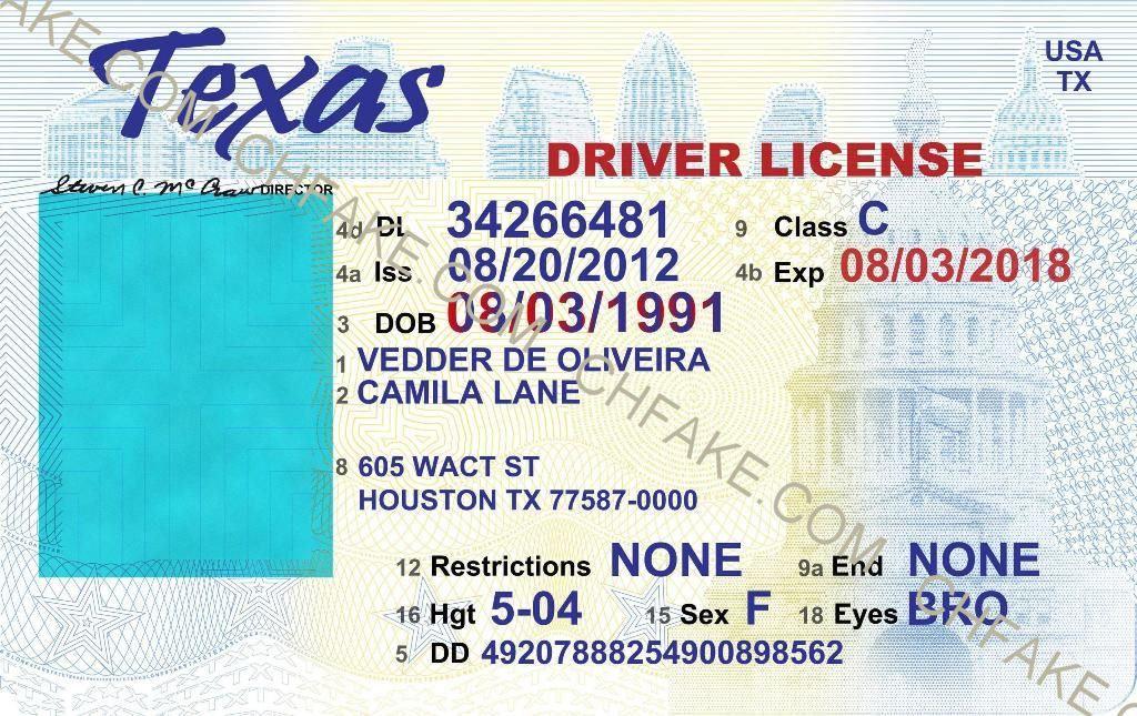 Texas Fake ID Template – Buy Fake ID | Scannable Identification