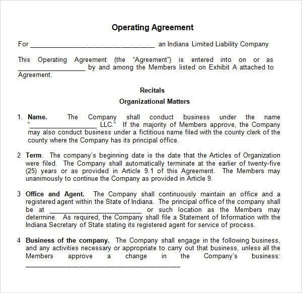 company agreement template