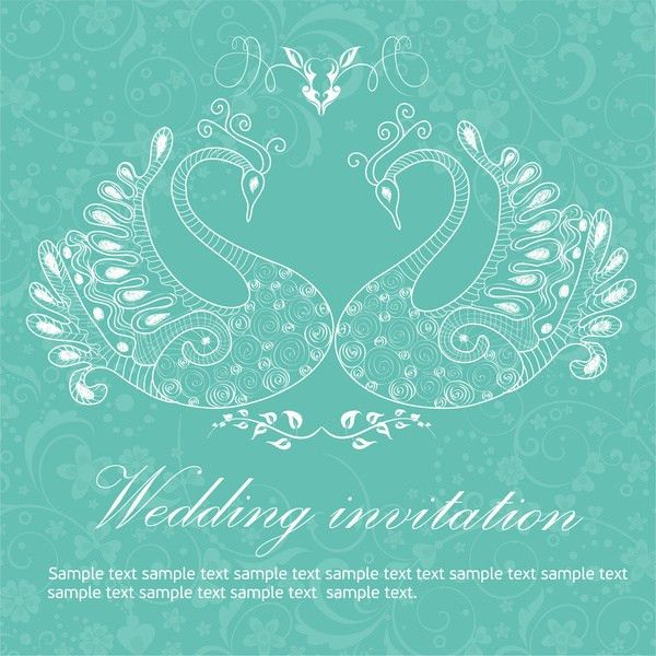 Wedding invitation background peacocks Free vector in Adobe ...
