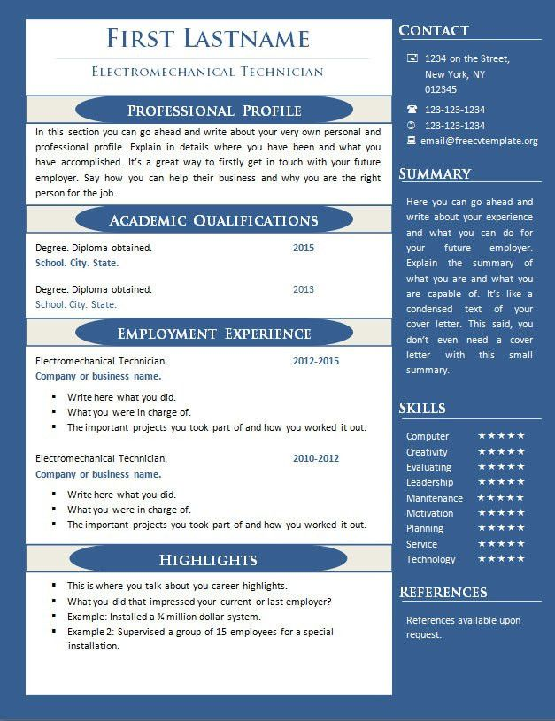 CV resume templates – Page 6 – freecvtemplate.org