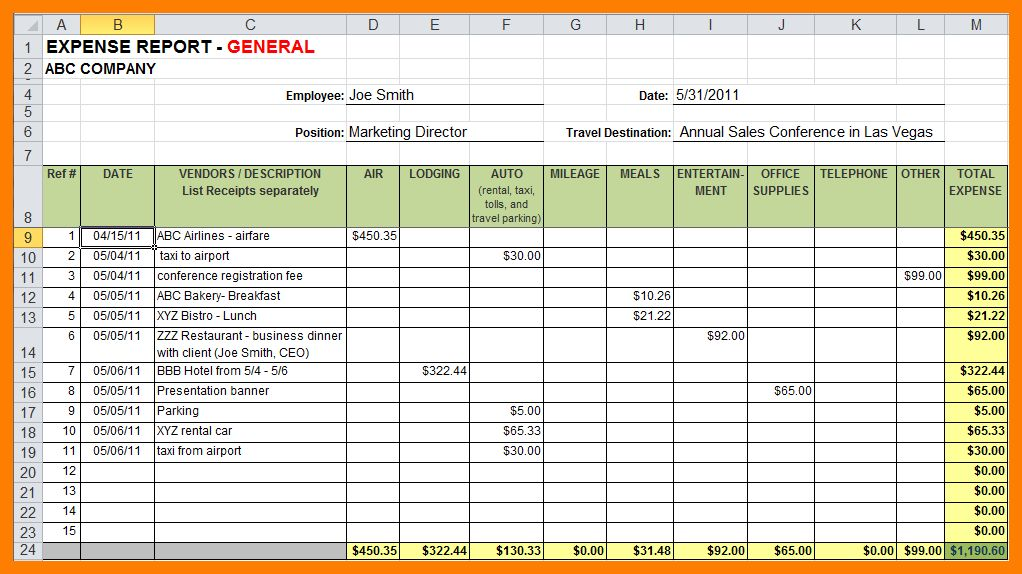 7+ expense report excel | authorized letter
