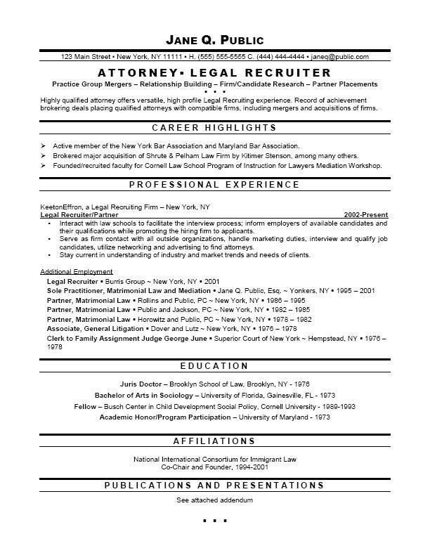Attorney Resume Format. legal assistant job resume are really ...