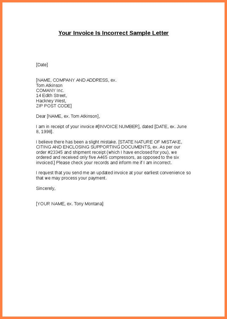 sorry about the mistake in invoice. sample cover letters for sales ...