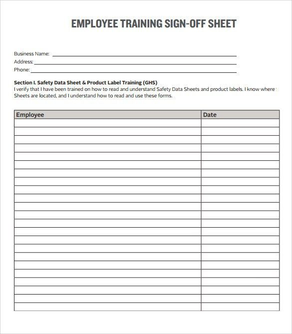Sample Training Sign in Sheet - 13+ Documents in PDF