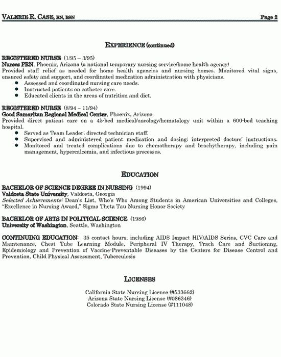Inspiring Registered and Licensed Nursing Resume Example with ...