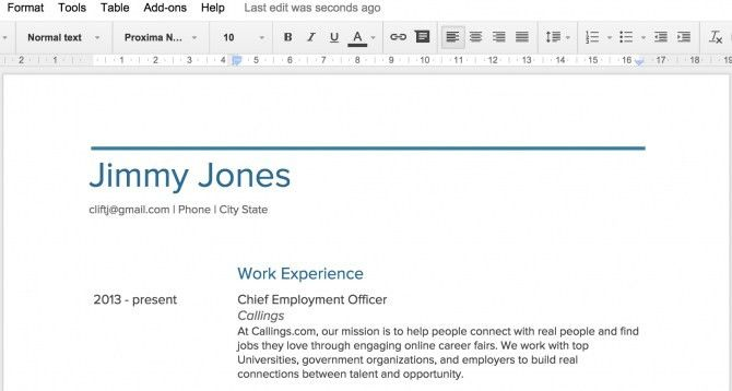 Stylish Google Doc Resume Template | Resume Format Web