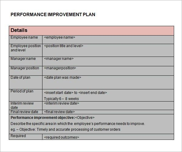 Performance Improvement Plan Template - 9+ Download Documents in ...