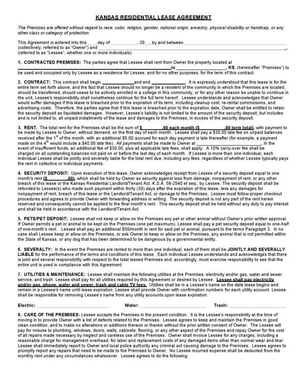 Kansas Rental Lease Agreement Templates   LegalForms.org