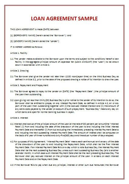 Loan Agreement Template | icurulumvitae.com