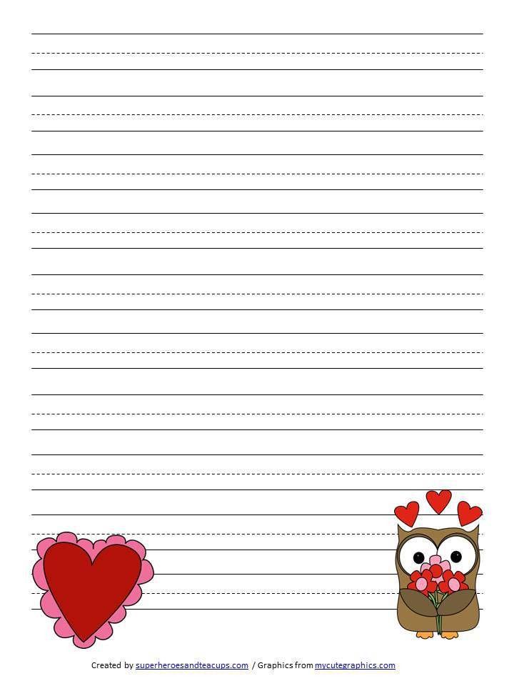 Valentine's Day Handwriting Paper Free Printable