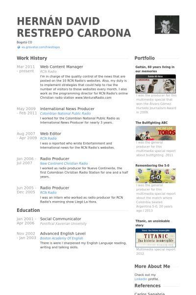 Web Content Manager Resume samples - VisualCV resume samples database