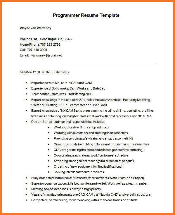 programmer resume | sow template