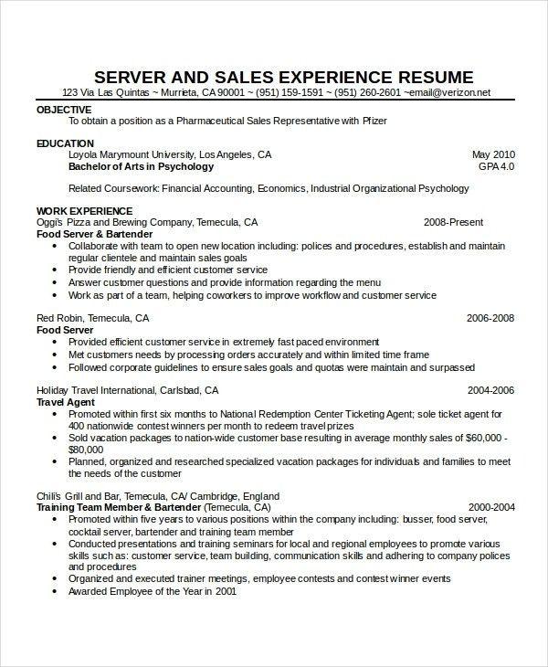 waitress resume samples free server resume example server resume