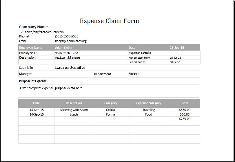 Expense Claim Form Template for EXCEL | Excel Templates
